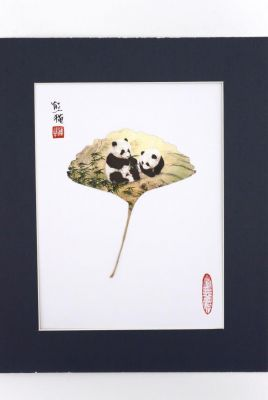 Chinese painting on tree leaf - 2 Pandas