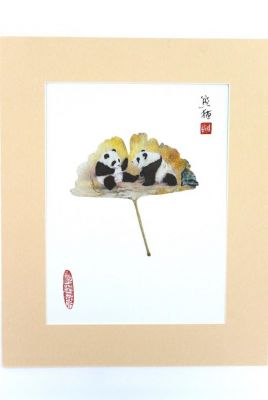 Chinese painting on tree leaf - Panda babies