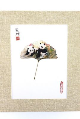 Chinese painting on tree leaf - Panda