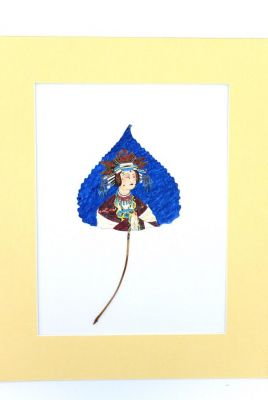 Chinese painting on tree leaf - Court Lady