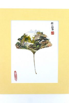 Chinese painting on tree leaf - Small Chinese village