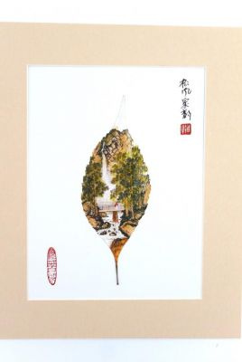 Chinese painting on tree leaf - Bridge on the river