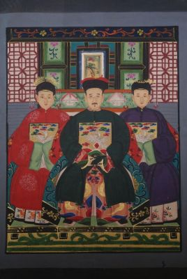 Dignitaries family from China 3 people Qing Dynasty