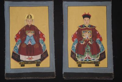 Small Ming Chinese ancestors couple Maroon