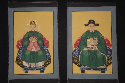 Small Qing Chinese ancestors couple Green