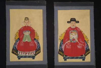 Small Qing Chinese ancestors couple Red