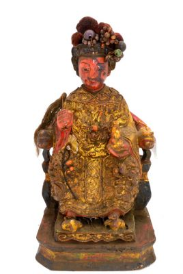 Old reproduction - Chinese votive statue - Woman with headdress