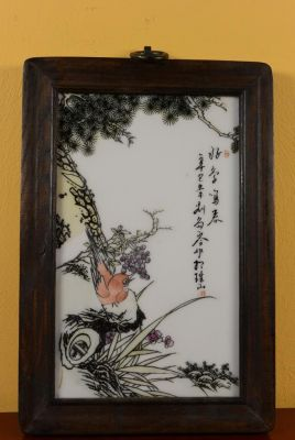 Small Chinese Wood and Porcelain Panel Bird 3