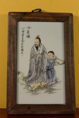Small Chinese Wood and Porcelain Panel Monk and disciple 3