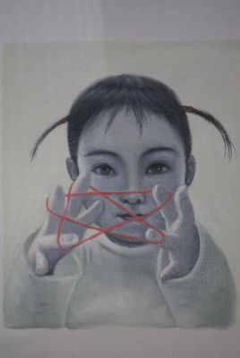 Chinese Painting on Canvas - Contemporary Artist Zhu Yiyong - he baby and the red star
