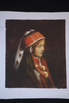 Chinese oil painting - Miao minority woman portrait - 1