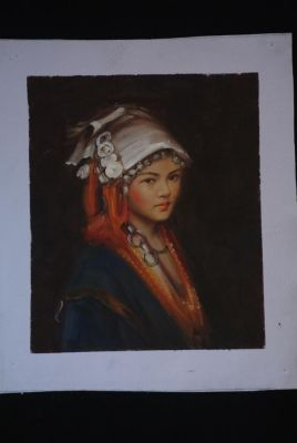 Chinese oil painting - Miao minority woman portrait - 2