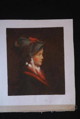 Chinese oil painting - Miao minority woman portrait - 4