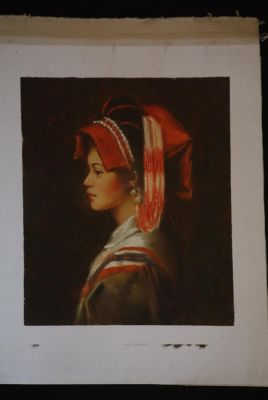 Chinese oil painting - Miao minority woman portrait - 5