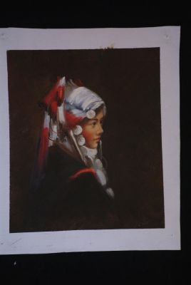 Chinese oil painting - Miao minority woman portrait - 6