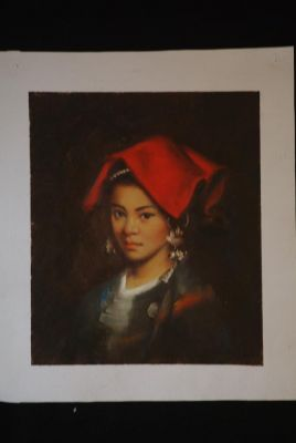 Chinese oil painting - Miao minority woman portrait - 8