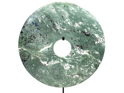 Very Large Chinese Bi Disc in Jade 40cm - Green