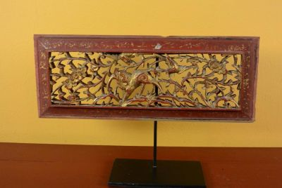 Old Wooden Panel Qing Dynasty Red and Gold 2