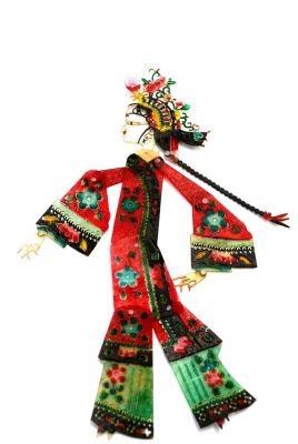 Chinese shadow theater - PiYing puppets - Woman - Red and green