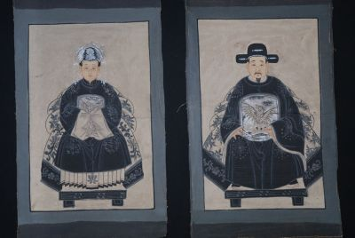 Small Chinese ancestors couple Painting from China Modern
