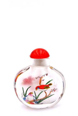 Small Glass Snuff Bottle - Chinese Arist - The birds