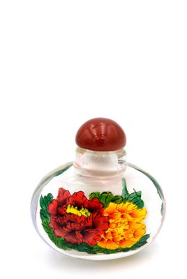 Small Glass Snuff Bottle - Chinese Arist - Peonies