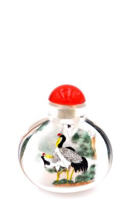 Small Glass Snuff Bottle - Chinese Arist - Common crane