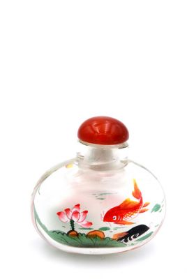 Small Glass Snuff Bottle - Chinese Arist - The Japanese carp