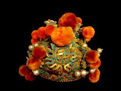 Ancient Chinese Theatre Hat Hat with orange pompoms