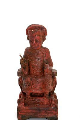Old reproduction - Small Chinese votive statue - Red lacquer