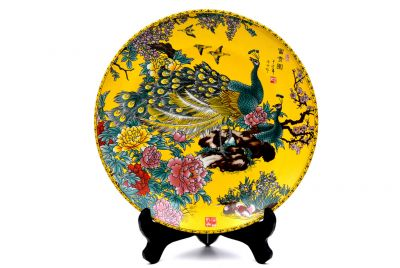 Large Chinese porcelain plate 33cm - The peacock