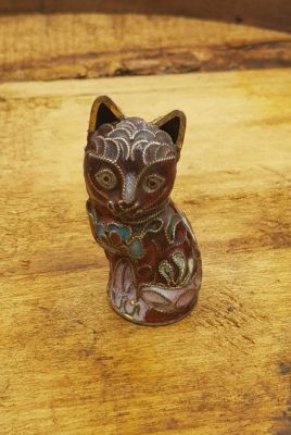 Chinese Cloisonné Animal - Red cat