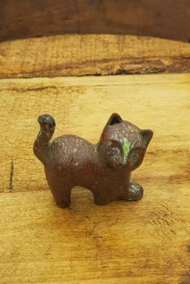 Chinese Cloisonné Animal - Cat - Red / Brown
