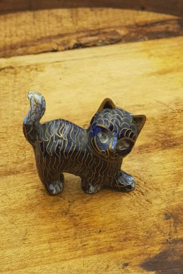 Chinese Cloisonné Animal - Blue Cat