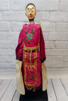 Ancient Chinese Theater Puppet -Fujian Province - Man / Silk Costume Rose and Flower