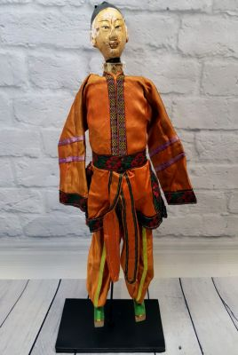 Ancient Chinese Theater Puppet -Fujian Province - Man / Orange Silk Costume