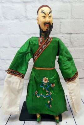 Ancient Chinese Theater Puppet -Fujian Province - Man / Green Silk Costume