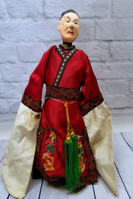 Ancient Chinese Theater Puppet -Fujian Province - Man / Red Silk Costume