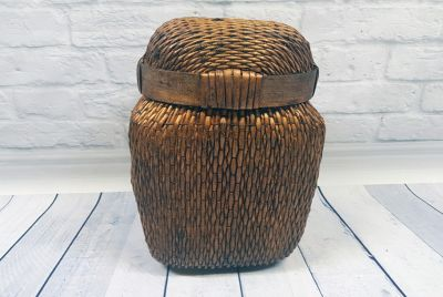 Old small Chinese braided box - Basketry