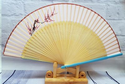 Asian Hand fan - Hand Painted - Cherry blossoms - Blue and pink
