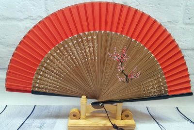 Asian Hand fan - Hand Painted - Cherry blossoms - Red and black