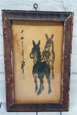 Old Chinese Wood Frame - Painting - The Chinese donkey