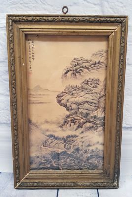 Old Chinese Wood Frame - Painting - Chinese landscape