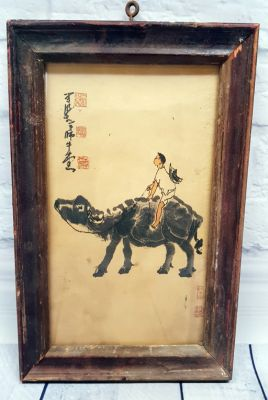 Old Chinese Wood Frame - Painting - The man and the buffalo