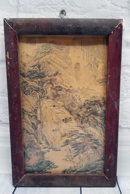 Old Chinese Wood Frame - Painting - The Chinese mountain