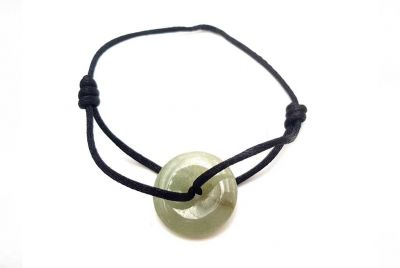 Chinese Pi Bracelet in real Jade - Dinh Van Style Green Disk / Black Cord