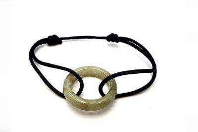 Chinese Pi Bracelet in real Jade - Dinh Van Style Green circle / Black cord