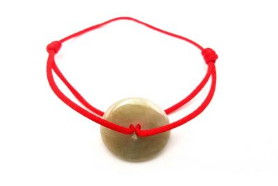 Chinese Pi Bracelet in real Jade - Dinh Van Style Green Disk / Red Cord
