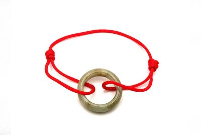 Chinese Pi Bracelet in real Jade - Dinh Van Style Green Circle / Red Cord