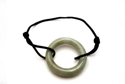 Chinese Pi Bracelet in real Jade - Dinh Van Style Very Large Green Circle / Black Cord
